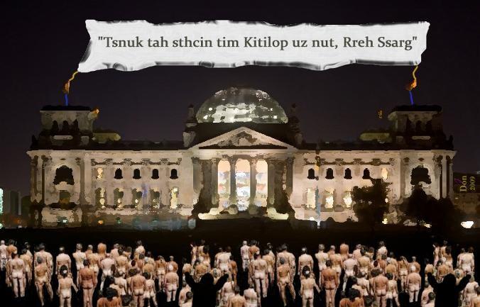Tsnuk tah sthcin tim Kitilop uz nut, Rreh Ssarg (Kunst hat nichts mit Politik zu tun, Herr Grass!) - by Don2009