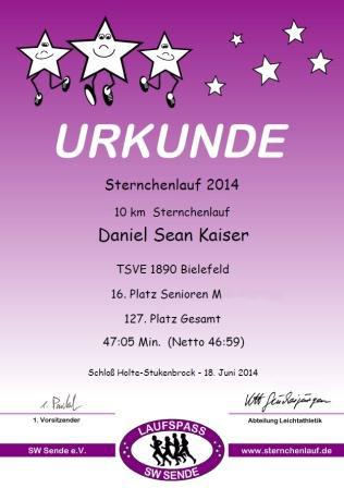 Sternchenlauf Sende 2014 - Urkunde