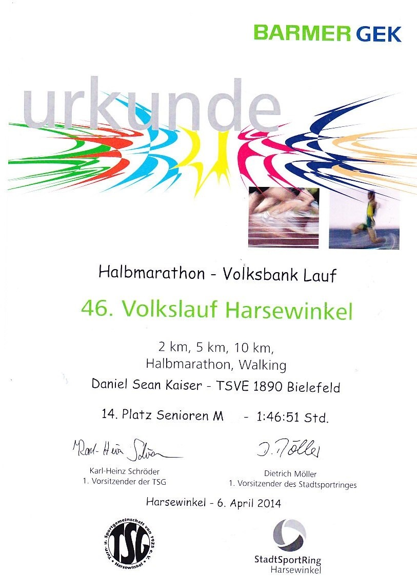 Harsewinkel - Halbmarathon - 6. April 2014 - Urkunde