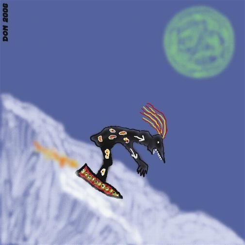 Schwarze Ski-Echse auf Titan