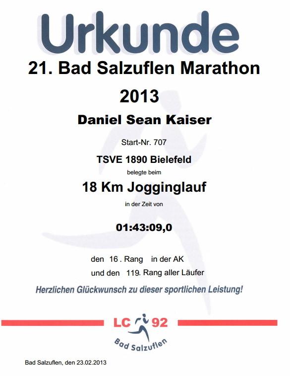Bad Salzuflen (Block-) Marathon 2013 - Urkunde
