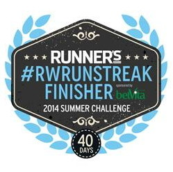 Runners World - RWRunStreak - Finisher - 26. Mai - 4. Juli 2014 (40 Days Run) - 333 Meilen (535 Kilometer)