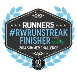 Runners World - RWRunStreak - Finisher - 26. Mai - 4. Juli 2014 (40 Days Run) - 333 Meilen (535 Kilometer)