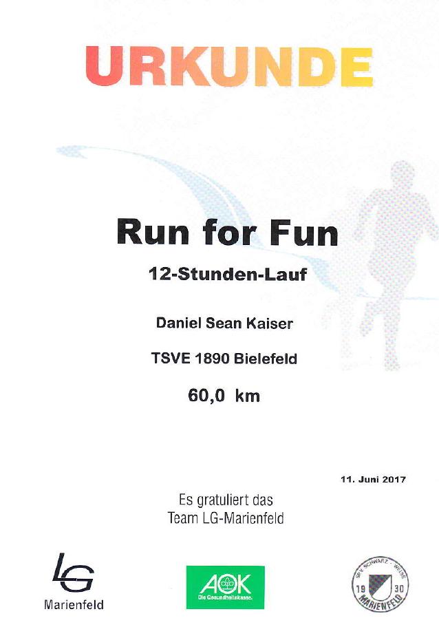 Run for Fun 2017 - Urkunde