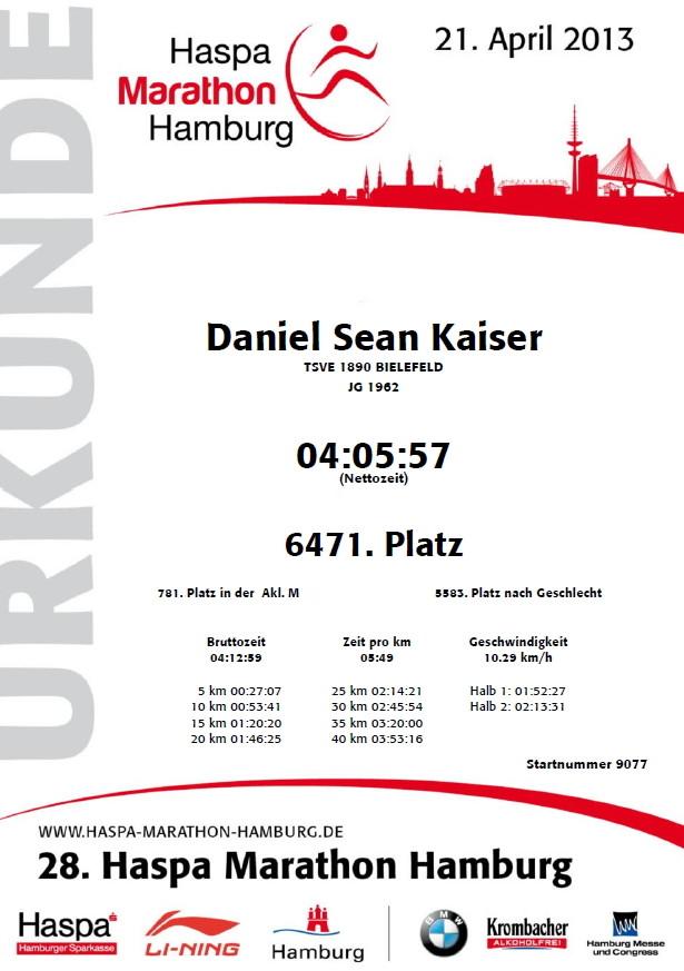 Hamburg Marathon 2013 - Urkunde