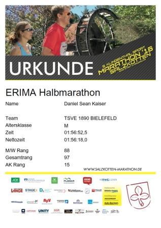 Salzkotten (Halb)Marathon 2016 - Urkunde