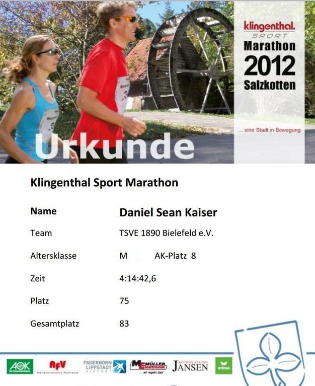 Marathon Salzkotten 2012 - Urkunde