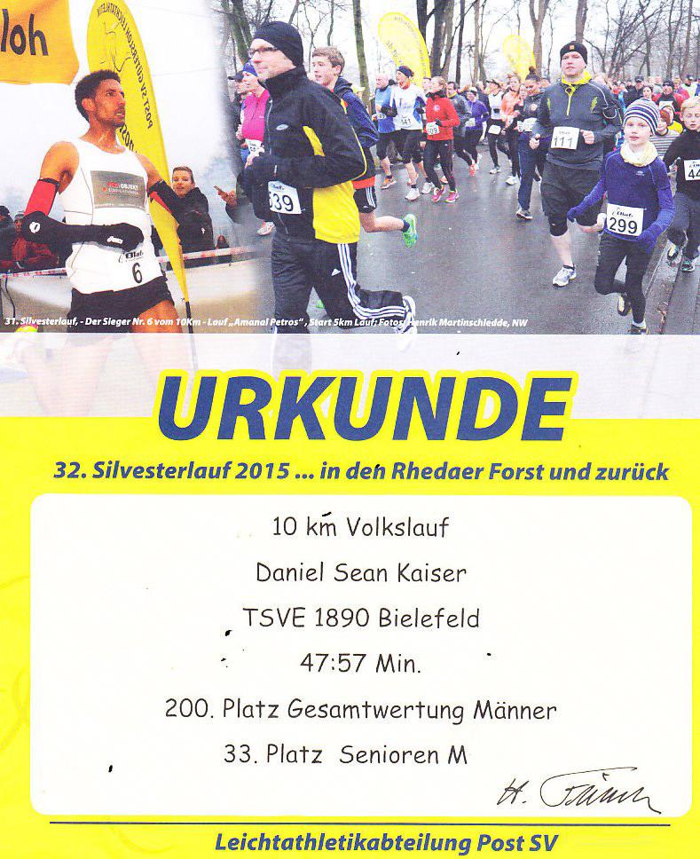 Silvesterlauf 2015 - Urkunde