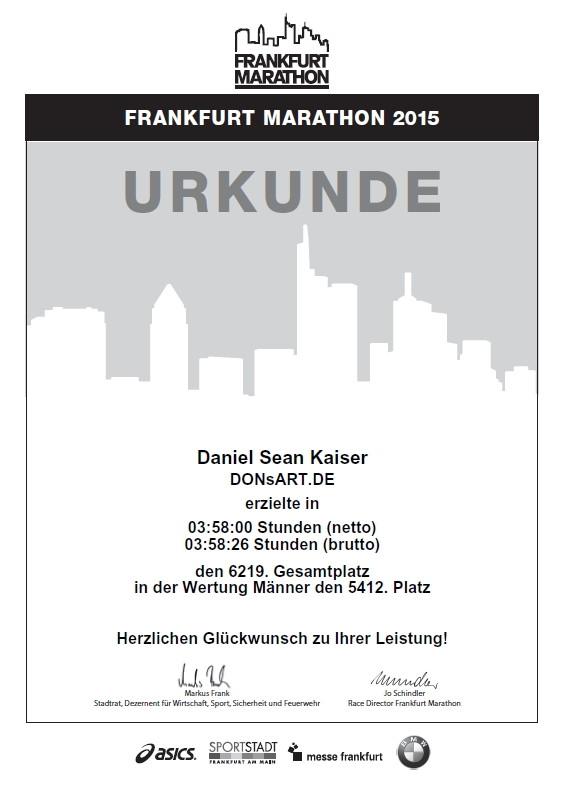 Frankfurt Marathon 2015 - Urkunde