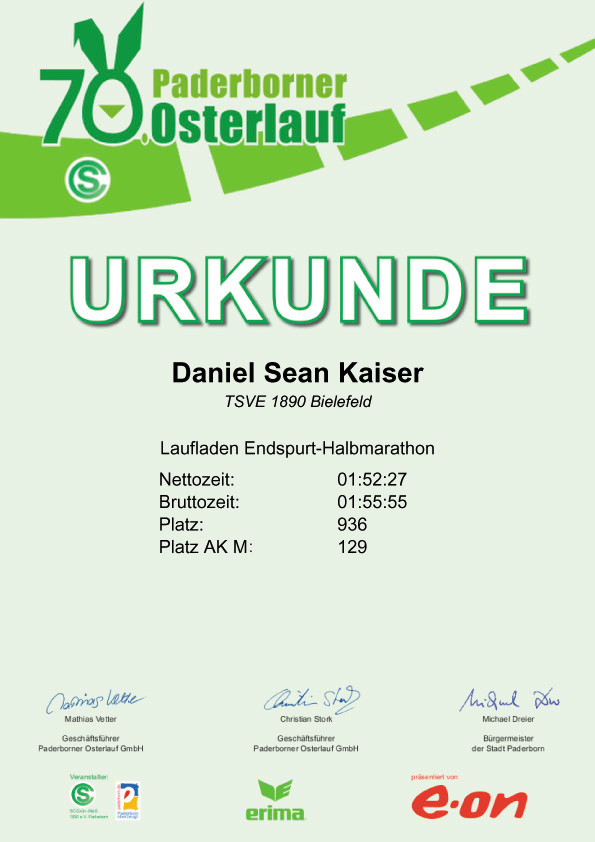 PB Osterlauf 2016 - Urkunde