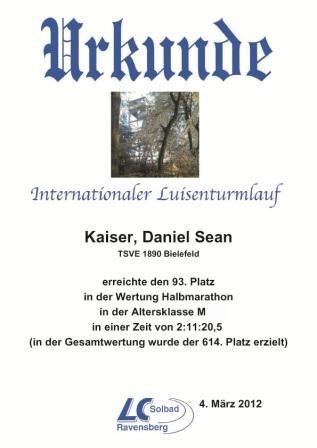 Luisenturmlauf 2012 - Urkunde