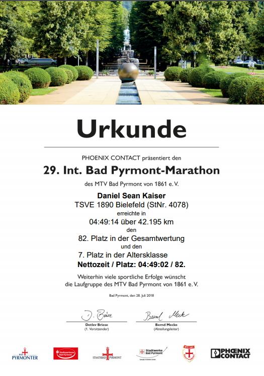 Bad Pyrmont Marathon 2018 - Urkunde