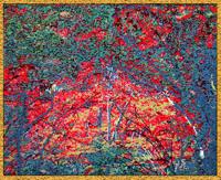 ビーズ絵 紅葉 ( 紅い森 )