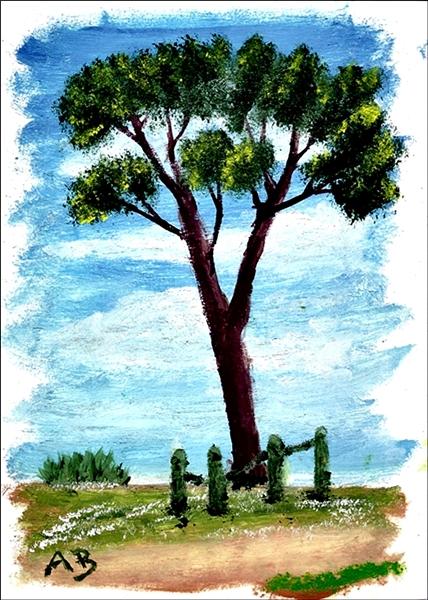 Landschaft in Öl mit blauem Himmel und Baumgruppe im Hintergrund. Wiese mit Blumen, großemn Baum und Halzaun im Vordergrund