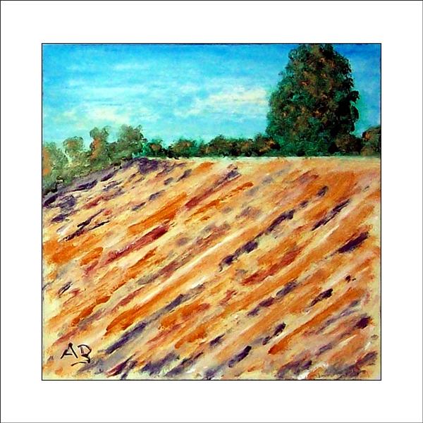 Herbstlandschaft mit blauem Himmel, Baumreihe, Bäumen, Büschen und Feld-Ölgemälde