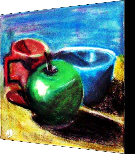 Stillleben mit Apfel, Pott und blauer Schale, Grüner Apfel, Stillleben, Pastellmalerei, Roter Pott, Blaue Schale, Kaffeepott, Pastellgemälde, Paszellbild, Moderne Malerei
