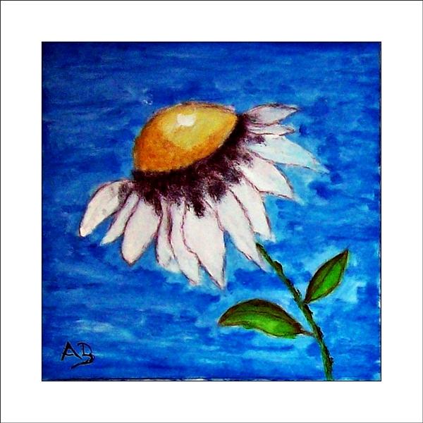 Gänseblümchen , blauer Hintergrund, Blüte mit Stiel und Blättern. Ölgemälde.