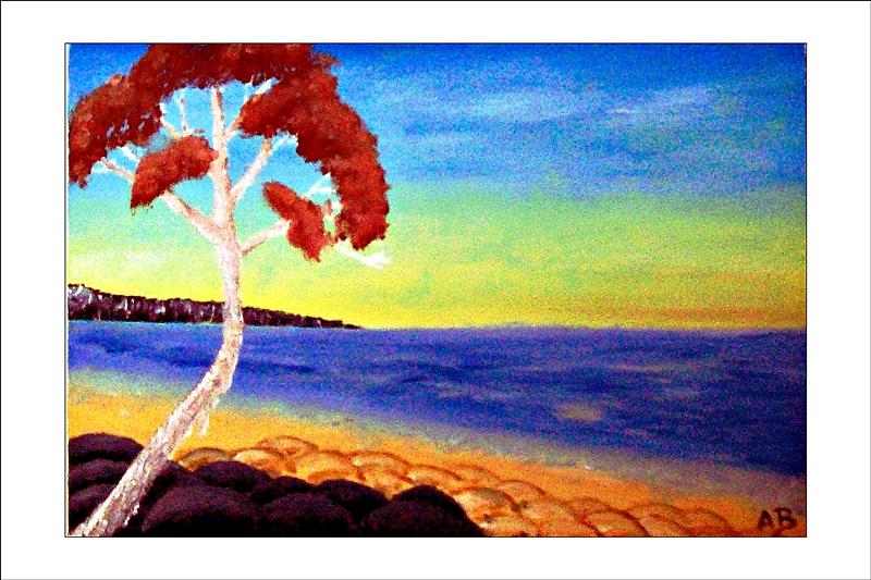 Sonnenuntergang am Meer, Klippen, Meer, Strand, Baum und Steine