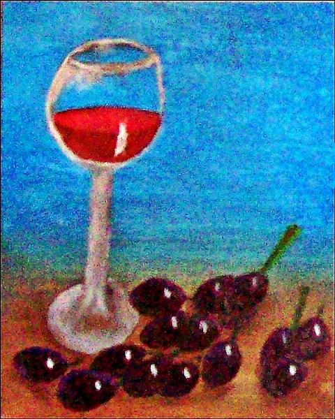Stillleben mit Weinglas und roten Trauben. Hintergrund istBlau und Ockergelb. Ölgemälde