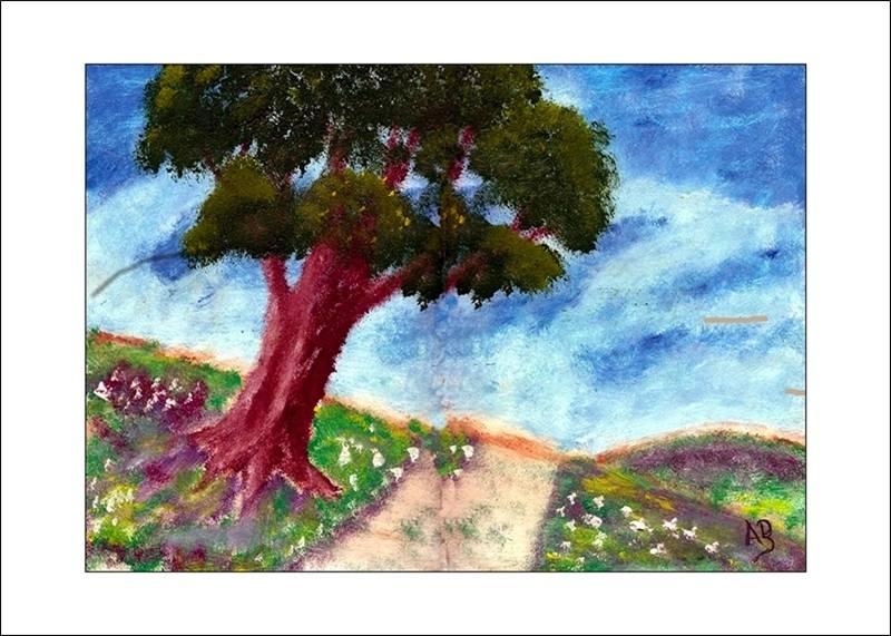 Berglandschaft - Einsamer Baum am Wegrand, Ölmalerei
