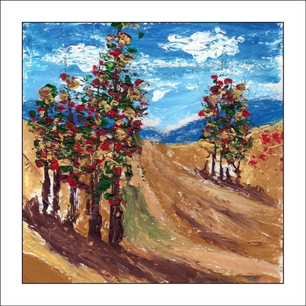 Herbstlandschaft mit Hügeln, wolkigem Himmel, Grasland, Felder und Bäume am Weg. Spachtel Ölgemälde.