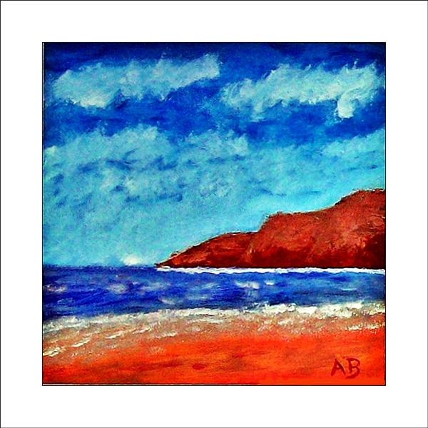 Küstenlandschaft mit Wolken am blauen Himmel, Steilküste, Meer mit Wellen und Strand. Ölgemälde