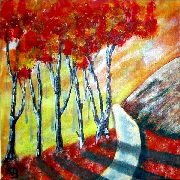 Berglandschaft-Ölmalerei-Herbst-Berge-Felsen-Bäume-Wiese-Weg-Blumen-Ölbild-Ölgemälde