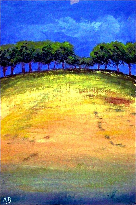 Rapsfeld-Ölmalerei-Landschaft-Raps-Felder-Büsche-Gras-Bäume-Moderne Malerei-Ölbild-Ölgemälde