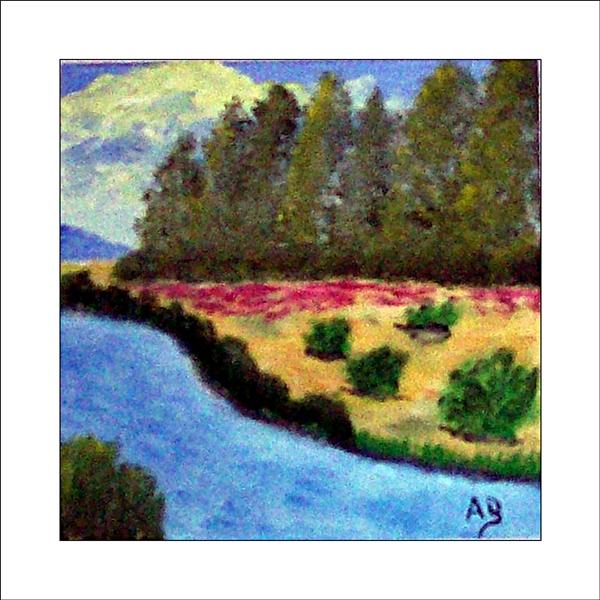 Landschaft mit Wald, Wiese, Blumen, Büschen und See