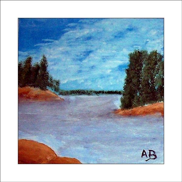 Seelandschaft mit blauem Himmel und Wald im Hintergrund. Blau, weißer See mit Inseln und Bäumen bewachsen und Felsen im Vordergrund. Ölgemälde.