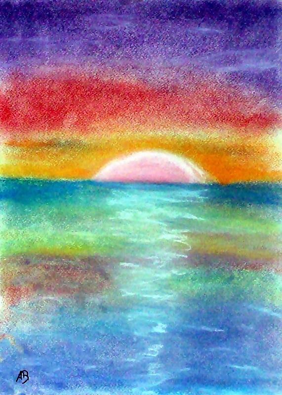 Meerlandschaft, Pastellmalerei, Meer, Sonnenuntergang, Sonne, Wasser, Wolken, Wellen, Pastellgemälde, Landsschaftsbild, Pastellbild