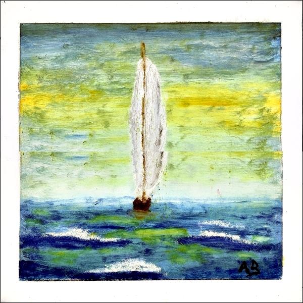 Meerlandschaft, Ölgemälde-Sonnenuntergang, Segelboot und bewegte See mit Wellen und Gischt