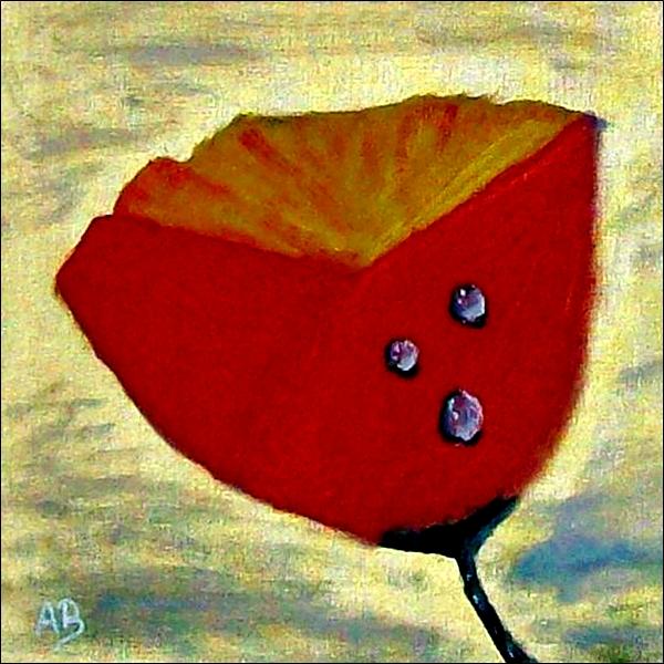Roter Mohn-Ölmalerei-Blume-Stillleben-Goldener Hintergrund-Wassertropfen-Moderbe Malerei-Ölbild-Ölgemälde