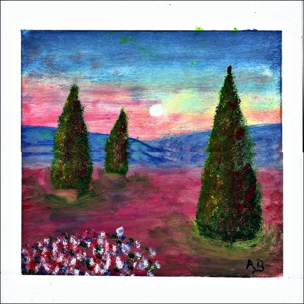 Provence mit Zypressen, Ölmalerei