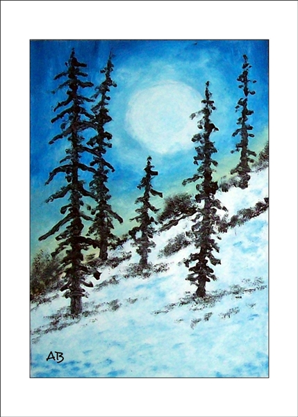 Winterlandschaft mit blauem Himmel und Weißer Sonne. Nadelbäume und Büsche am verschneten Hang im Vordergrund-Ölgemälde