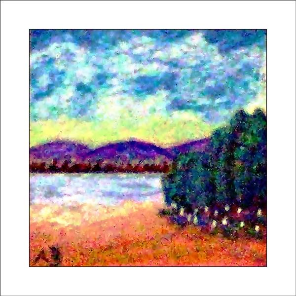 Sonnenuntergang, Wolken, HügelWald, See, Ufer, Baumgruppe