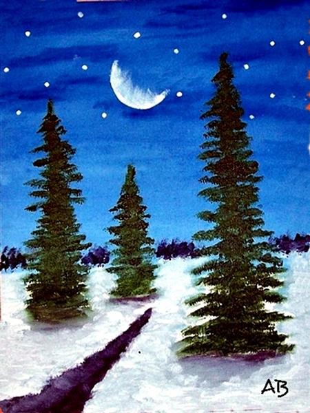 Landschaft-Winter-Nacht-Himmel-Mondsichel und Sternen-Fichten im Hintergrund, schneebedeckte Landschaft mit Nadelbäumen und Bach