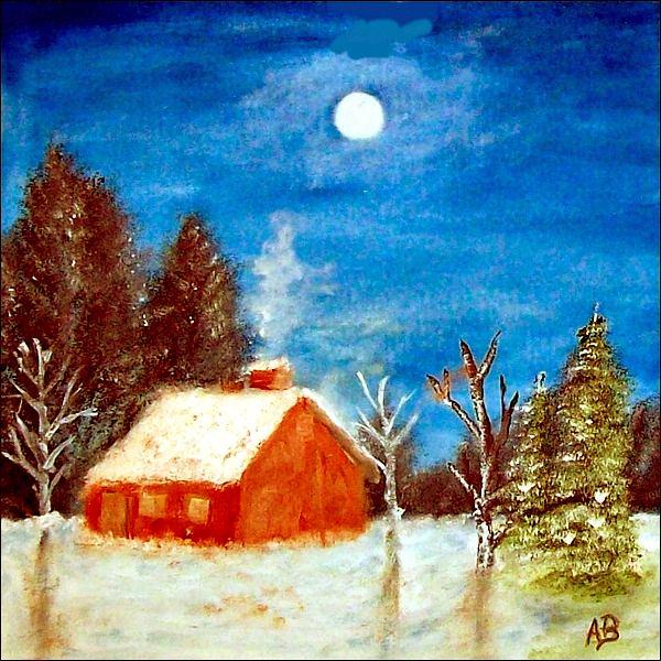 Winterlandschaft-Ölmaöerei-Landschaft-Nacht-Mond-Wald-Schnee-Bäume-Hütte-Ölbild-Ölgemälde