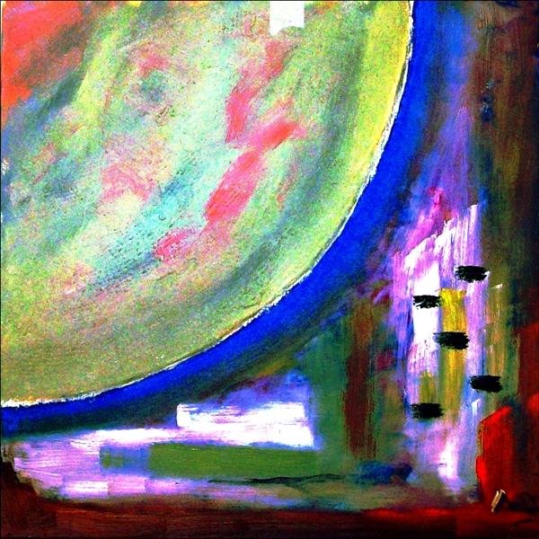 Abstrakte Malerei, Hintergrund links: großer Mond, Vordergrund: Häuser, Wasser und Land