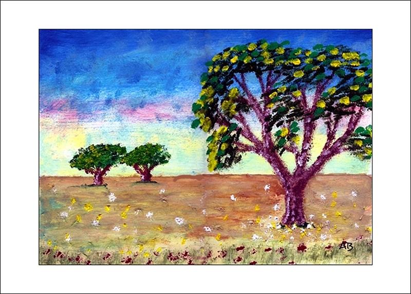 Landschaft mit Wiese und Bäumen, Ölmalerei