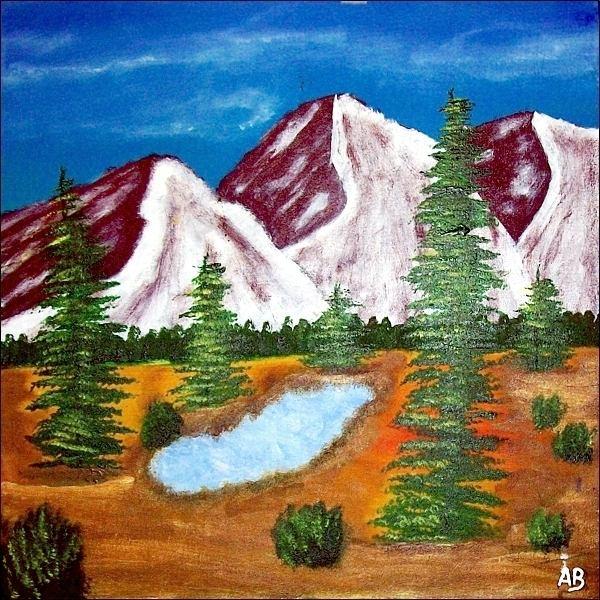 Berglandschaft-Ölmalerei-Landschaft-Berge-Schnee-Bäume--Wald-Nadelbäume-See-Wiese-Büsche-Ölbild-Ölgemälde