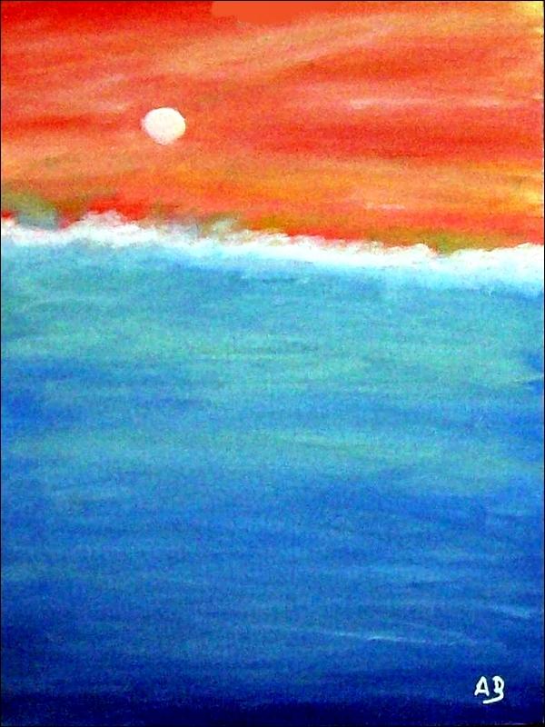Abstrakte Meerlandschaft-Landschaft-Ölmalerei-Meer-Ozean-Abstrakt-Ölbild-Ölgemälde