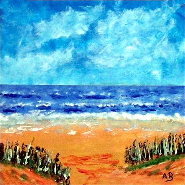 Strandlandschaft-Meer-Küste-Dünen-Ölmalerei-Blumen-Gras-Ölbild-Ölgemälde