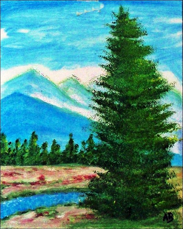 Berglandschaft-Ölmalerei-Landschaft-Berge-Wald-Bäume-Bach-Baum-Kiefer-Wiese-Ölbild-Landschaftsgemälde