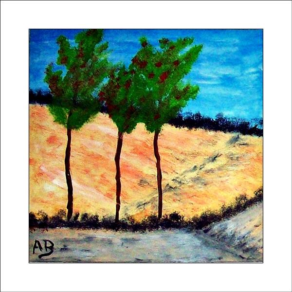 Landschaft mit blauem Himmelund Wald im Hintergrund. Gelb, weiß, grünes Feld im Mittelgrund. Bäume und Straße im Vordergrund. Ölgemälde.