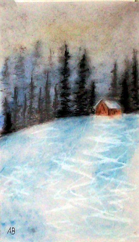 Winterwelt, Pastelmalerei, Landschaftsbild, Berglandschaft, Hügel, Winter, Schnee, Bäume, Tannen, Hütte, Pastellgemälde, Pastellbild