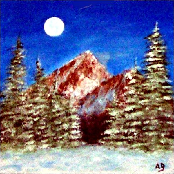 Berglandschaft-Ölmalerei-Winter-Schnee-Berge-Wald-Bäume-Fichten-Sonne-Ölbild-Ölgemälde
