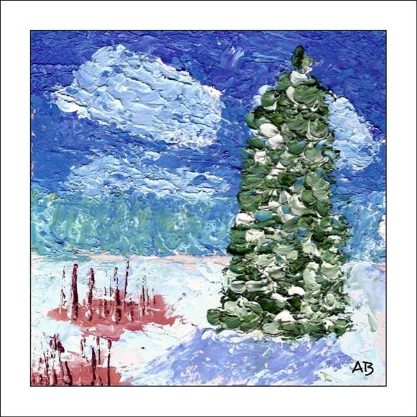 Winterlandschaft mit blauem Wolkenhimmel, Schnee, Pflanzen und verschneitem Nadelbaum im Vordergrund. Impasto Ölgemälde.