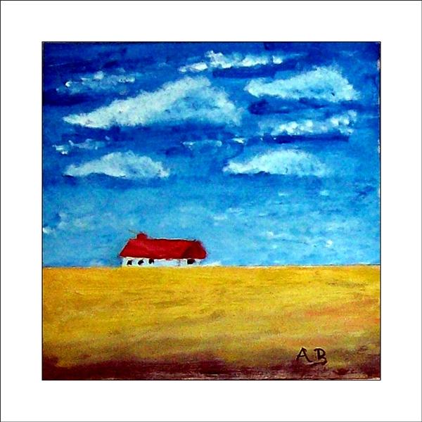 Landschaft: Bewölkter Himmelu und Haus im Hintergrund. Vordergrund: Rapsfeld