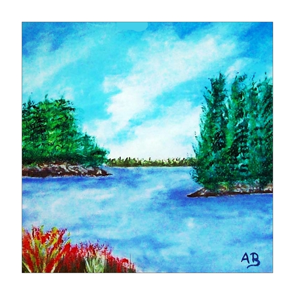 Landschaft-Acrylmalerei-Seelandschaft-Himmel-Wald-Bäume-Ufer-Wasser-See-Blumen-Gras-Felsen-Landschaftsmalerei-Acrylgemälde